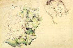 Paul Cézanne- Madame Cézanne with Hydrangeas - Category:Hydrangea in art - Wikimedia Commons