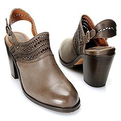 Ariat® Leather Cut-out Detailed Buckle Closure High Heel Clogs