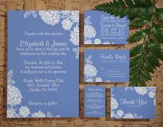 Elegant Cornflower Blue Wedding Invitation by InvitationSnob