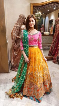 Designer Lehenga Choli Color Combination <br> Latest Collection of Pakistani Bridal Dresses Online by Top Pakistani Designers to Buy Online for Pakistani Girls looking for Traditional or Contemporary Bridal & Wedding Dresses. Pakistani Bridal Dresses Online, Pakistani Mehndi Dress, Bridal Mehndi Dresses, Pakistani Fashion Party Wear, Pakistani Formal Dresses, Pakistani Wedding Outfits, Bridal Dress Design, Pakistani Dress Design, Pakistani Designers