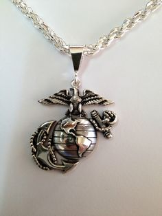 "1"" Tall Solid Sterling USMC Eagle Globe and Anchor Pendant - Made in the USA by USMC Veteran owned small business, licensed and approved by the USMC."