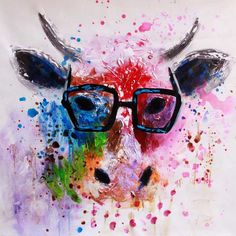 Frameless Canvas Art Fashional Mr. Cow Wearing Glass Oil Painting - Red + Black + Multicolor http://www.dx.com/p/411590
