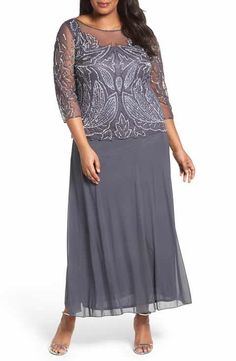 Pisarro Nights Illusion Neck Beaded A-Line Gown (Plus Size)