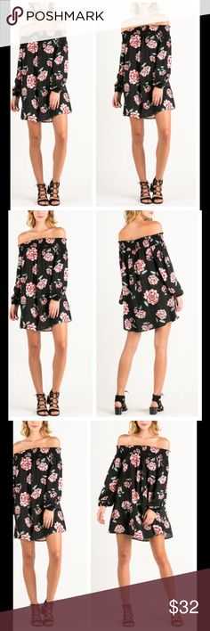 Floral off the shoulder dress Gorgeous chiffon style floral print off the shoulder dress PLEASE Use the Poshmark new option you can purchase and it will give you the option to pick the size you want ( all sizes are available) BUNDLE and save 10% ( no trades price is firm unless bundled) Dresses