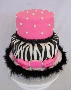 Hot Pink & Zebra Cake Top is pink champagne cake with strawberry filling, covered in bubblegum pink fondant- I used my diamond. Pink Zebra Cakes, Zebra Birthday Cakes, 21st Birthday Cake For Girls, 27th Birthday, Pretty Cakes, Cute Cakes, Beautiful Cakes, Pink Champagne Cake, Strawberry Cakes