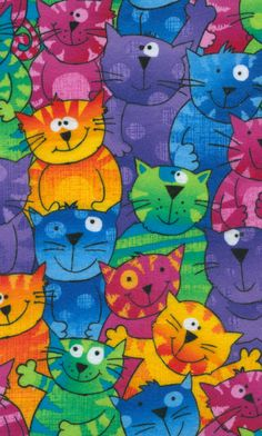 Colorful kitties from Timeless Treasures fabric collection I Love Cats, Cool Cats, Scrapbook Background, Cat Jokes, Cat Fabric, Cat Quilt, Animal Jam, Sleepy Cat, Art Themes