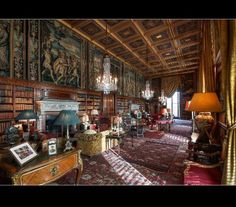 The Long Library at Eastnor Castle the home of the Hervey-Bathurst family, situated in a private estate nr Ledbury, Herefordshire. Eastnor Castle, Classic Library, Alnwick Castle, English Castles, Ancient Buildings, Castle House, Herefordshire, Grand Homes, Scandinavian Bedroom