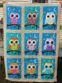 Appliqued Owl Quilt. $175.00, via Etsy.