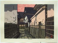 Katsuyuki Nishijima, Street in Kurashiki, Ukiyo-e Gallery Japanese Art Styles, Japanese Prints, Japanese Illustration, Illustration Art, Illustrations, Art Occidental, Oriental Print, Japanese Painting, Cool Paintings