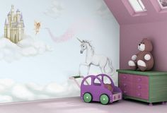 Kid s unicorn wallpaper design by Inspire Murals available at wallpapered com Para Sofis