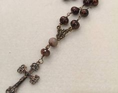 Mothers Day Sale Pearl and Smoky Quartz Wire Wrapped  Prayer Bead Necklace  Anglican Rosary  PSQPBN117  Protestant Prayer Bead Necklace  Epi