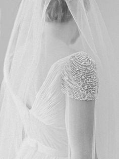 Chic beaded shoulder wedding dress: http://www.stylemepretty.com/2016/02/11/classic-springtime-dunaway-gardens-wedding/ | Photography: Amy Arrington - http://www.amyarrington.com/