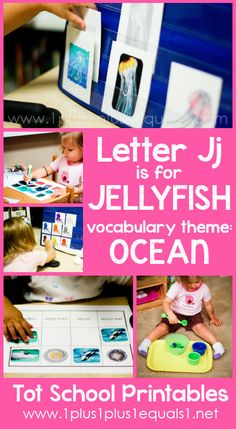 Tot School Printables Letter J is for Jellyfish {free} from Carisa Letter J Activities, Montessori Activities, Toddler Activities, Ocean Activities, 3 Year Old Preschool, Preschool At Home, Homeschool Kindergarten, Alphabet Crafts, Ocean Themes