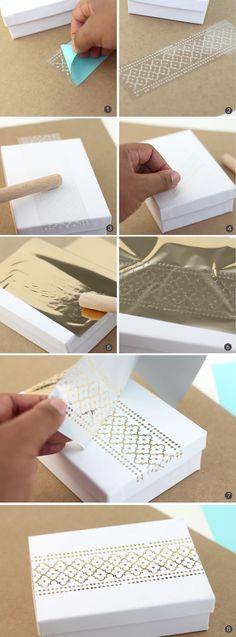 Gold Foil Made Easy Make your own foiled stationery. Wedding Card Design, Wedding Cards, Diy Invitation, Craft Foil, Envelopes, Deco Foil, Do It Yourself Inspiration, Gold Foil Print, Foil Prints