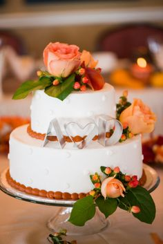 Fall Wedding Cake With Initial Letters And Heart Cookie Cutter