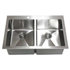 33 Inch Top-Mount / Drop-In Stainless Steel Double Bowl Kitchen Sink 15mm Radius Design 16 Gauge