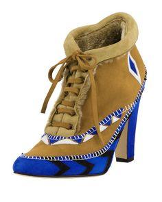 Manolo+Blahnik+Eskima+Suede+Moccasin+Ankle+Boots+Francia+Blue+|+Footwear