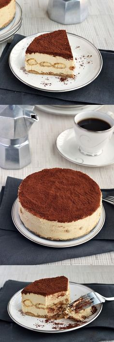 Tiramisu Cheesecake - Plated with Style Sweet Desserts, No Bake Desserts, Sweet Recipes, Delicious Desserts, Cake Recipes, Dessert Recipes, Yummy Food, Gourmet Desserts, Plated Desserts