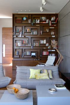 Love this bookshelf from Israeli firm Auerbach Halevy Architects who designed House K, an unusual concrete house in a rural section of central Israel.