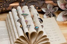Roll the pages of old books to create a vintage display for rings.