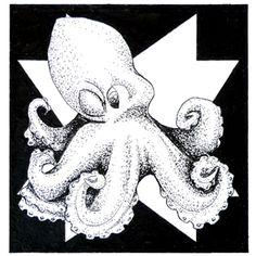 Day 27 1/05/16 Original aquatic pointillism octopus art with art deco background.