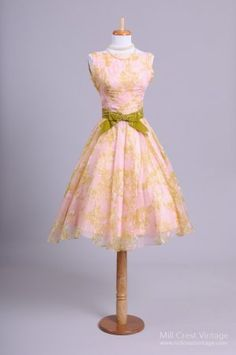 1950's Lilac, Pink and Moss Green Watercolor Party Dress