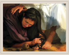 """""""Mary anoints Jesus feet"""", by Lars Justinen"""