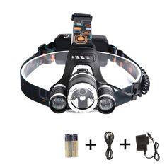 SunGlobal 30W 3 CREE XM-L2 T6 LED Headlamp, 5000Lemen Super Bright 4 Modes Adjustable Waterproof LED Overhead Flashlight Torch, Battery Powered Helmet Light for Camping, Running, Hiking, Reading. SUPER BRIGHT: XM-L2 T6 LED light, 5000 lumen, powered by 2 pieces of rechargeable batteries. 4 WORKING MODES: HIGH/ MIDDLE/ LOW/ STROBE. Flashing on behalf of SOS distress signal. ZOOMABLE and 90 DEGREE ADJUSTABLE: Stretch the lamp holder to adjust the aperture size for astigmatism or spotlight…