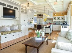 open kitchen with tv space