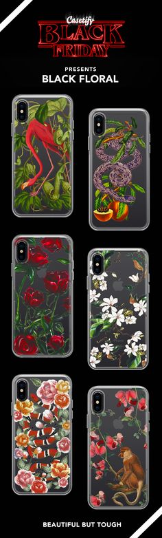 Black Friday Special  >> Most Popular Black Floral iPhone X, iPhone 8, iPhone 8 plus, iPhone 7, iPhone 7 Plus cases. - Shop them here ☝️☝️☝️ BEAUTIFUL BUT TOUGH ✨ - fashion, illustrators, floral, illustrations, fashionista