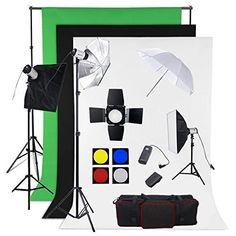 BPS Profi 900W Fotostudio Set Studioleuchte Fotografie Studioblitz Studioset inkl. Abschirmklappe Schirm 3x300W Synchronblitzlampe Hintergrundsystem Stoff(weiß schwarz grün ) Softbox Lampenstativ Funkauslöser Studioklemmen Tragtasche - http://kameras-kaufen.de/bps/900w-bps-profi-1200w-fotografie-fotostudio-set-2