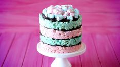 Not only does it rhyme, but this no-bake marshmallow and salted popcorn cake with chocolate ganache tastes great too! Blue Popcorn, Popcorn Cake, White Marshmallows, Blue Food, Modeling Chocolate, Favorite Candy, Cake Tins, Chocolate Ganache, Royal Icing