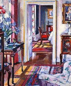 """Francis Campbell Boileau: """"Cadell Croft House, Interior"""", 20th century. Love the colors in this!"""