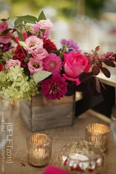 Love the burlap, candles, and box/flowers