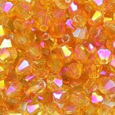 Mango Pink AB 4mm small facetted glass bicone beads. Transparent dark orange, with a fuchsia iris rainbow finish. UK seller.