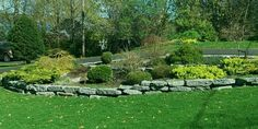 Large limestone blocks make for easy walls and nice garden borders while adding appeal to this large front yard.