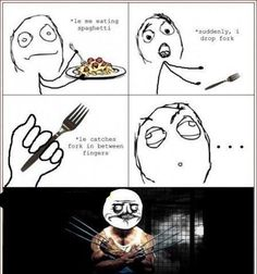 How Wolverine Born While Eating Spaghetti.... - Posted in Funny, Troll comics and LOL Images - LOL Heaven