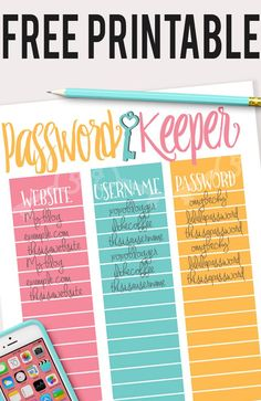 """Place this free printable password log in your binder and never lose your passwords again! Easy organization for all of your online log-ins."""""""