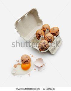 Eggs in a box are scared of dead friend