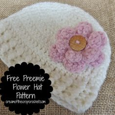 Preemie Hat Make sure to tell people about this adorable Free Preemie Flower Hat! It comes in 4 different sizes with edging, and has a cute flower pattern along with it! Its also available on craftsy for free! Crochet Preemie Hats, Crochet Baby Hat Patterns, Crochet Baby Beanie, Crochet Cap, Crochet Bebe, Crochet Baby Clothes, Crochet For Kids, Baby Patterns, Baby Knitting