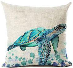 Throw Pillow Cases, Decorative Throw Pillows, Sea Turtle Decor, Beach Watercolor, Beach Themes, Decoration, Cushions, Beautiful, Cushion Covers