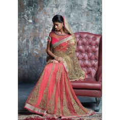 Pink lehenga style golden resham work saree with brocade blouse provide a Royal look to a lady. Pink Lehenga, Lehenga Style, Indian Attire, Indian Wear, Indian Style, Indian Ethnic, Indian Dresses, Indian Outfits, Indian Clothes