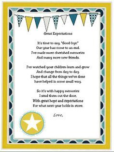 Great end of the year letter for children.