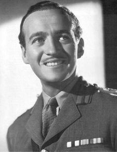 david niven   actor - Graduate of Sandhurst, was a Lt. Colonel with British Commandos in Normandy.  Served for two years in Malta with the Highland Light Infantry. At the outbreak of World War II, although a top-line star, he re-joined the army (Rifle Brigade). On his return to Hollywood after the war he was made a Legionnaire of the Order of Merit (the highest American order that can be earned by an alien). This was presented to Lt. Col. David Niven by Gen. Dwight D. Eisenhower.