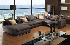 Living Room Designs, Modern Contemporary Living Room Furniture Comes With The Amazing Idea : Contemporary Living Room Furniture Grey Sofa Floor To Ceiling Glass Window, Contemporary Living Room Furniture, Room Furniture Design, Contemporary Sofa, Living Room Modern, Living Room Interior, Bedroom Furniture, Furniture Ideas, Modern Furniture, Small Living
