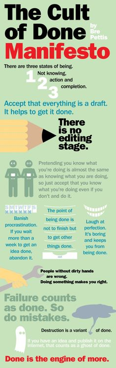 The Cult of DONE Manifesto #infograph #coolinfograph