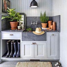 """Joe Ruggiero on Instagram: """"@joydesignbuild #mudroom #potting #storageideas #kitchenideas"""" Fresco, Mudroom Cabinets, Kitchen Design, Kitchen Decor, English Kitchens, Plain English Kitchen, Small Laundry, Bronze, E Design"""