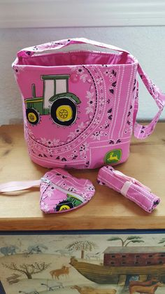 Pink John Deere themed Girl's Bucket purse by SherrysCraftPatch
