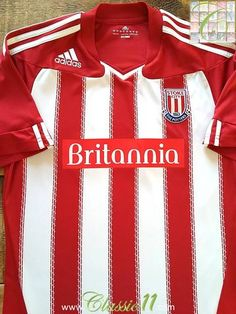 Relive Stoke City's season with this original Adidas home football shirt. Red White Striped Shirt, Red And White Stripes, Stoke City Fc, Blackburn Rovers, Classic Football Shirts, Aston Villa, Adidas Shirt