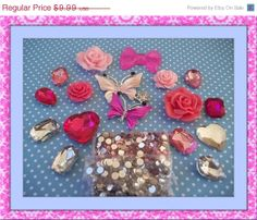 ON SALE DIY 3d alloy rhinestone bling pink butterflies kawaii decoden cabochons cell phone deco kit., $7.49